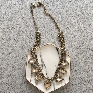 Gold Triangle Cut Diamonds Statement Necklace